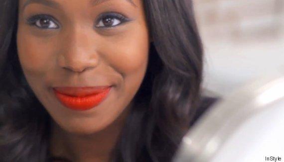 orange lipstick