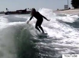 This Guy Can Surf The Hell Out Of A Boat Wake