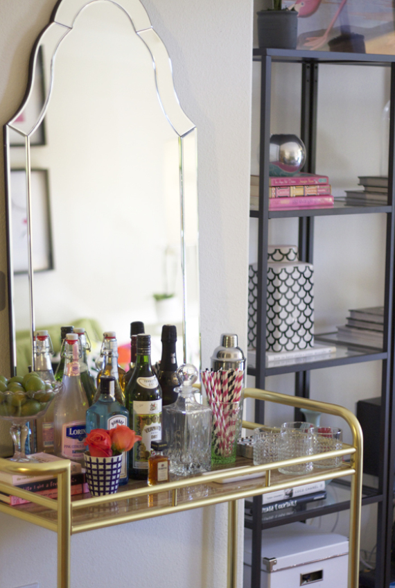 give a mirror the starring role k - How To Style A Bar Cart
