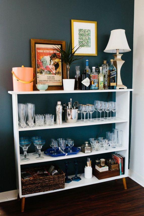 if building a bar cart seems like too much work load up your bookcase