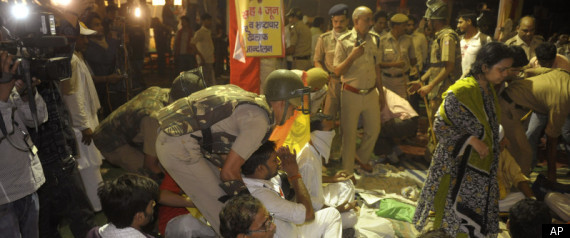 Police attack on Ramlila Maidan.