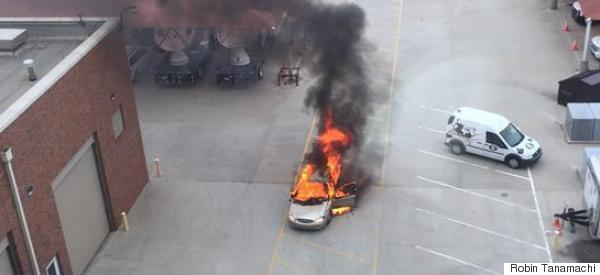 Smoke-Filled Car Crashes Through National Weather Center Gate, Bursts Into Flames