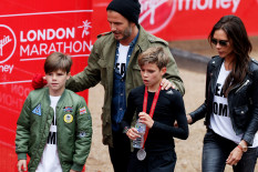 Beckham family at the London Marathon | Pic: Getty