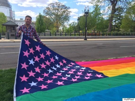 Eddie Reynoso with his Pride Constellation flag.