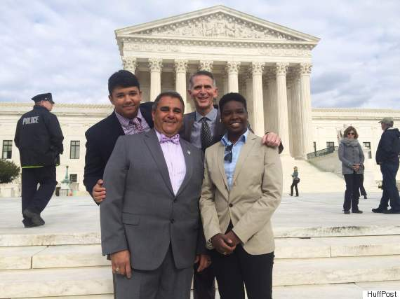 Kentucky plaintiffs Michael DeLeon and Greg Bourke, with their children Isaiah and Bella.