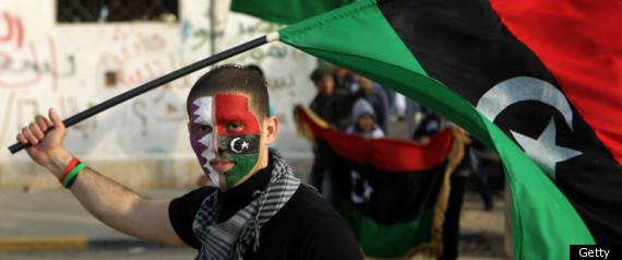 LIBYA QATAR FLAGS