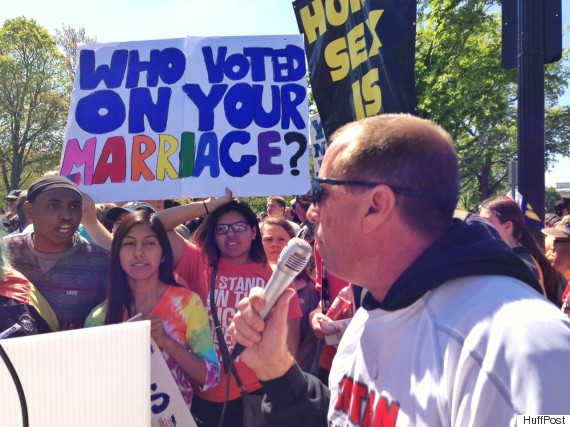 David Grisham faces off against marriage equality supporters.