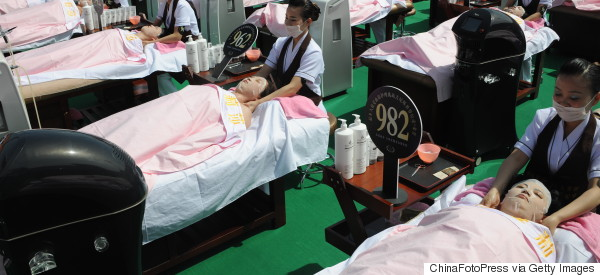 Amazing Photos Show 1,000 Women Getting Facials In A Chinese Football Stadium