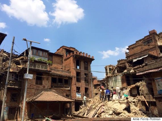 bhaktapur locals rubble