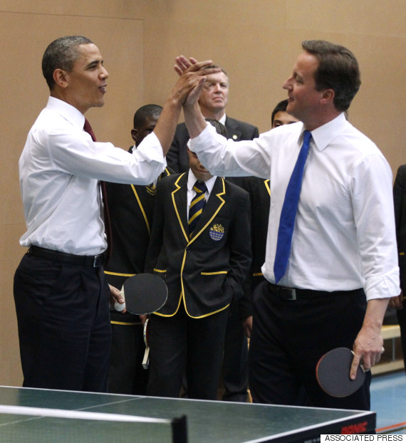 barack obama david cameron high five