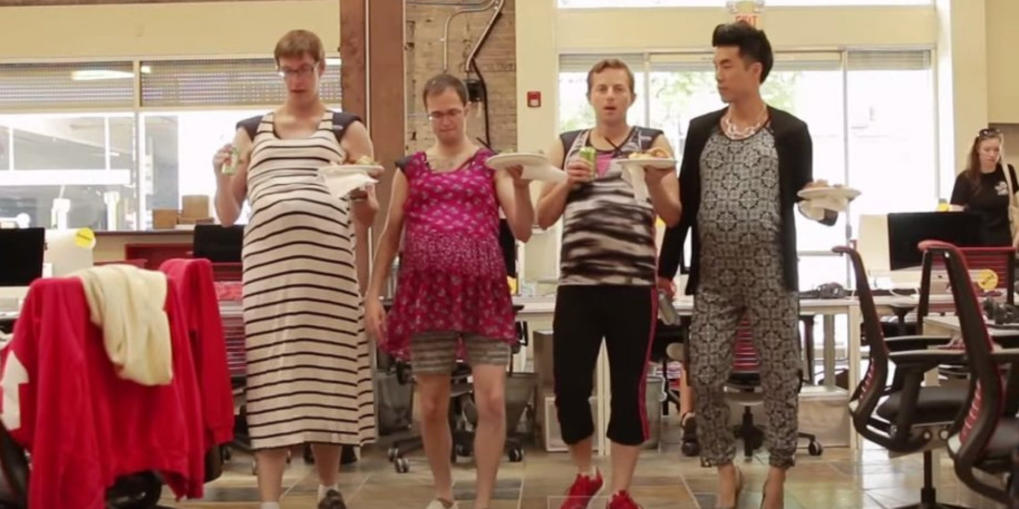"In this hilarious new Buzzfeed video, The Try Guys simulate pregnancy by wearing fake weighted bellies. And they learn just how rough it can be. ""It feels like I..."