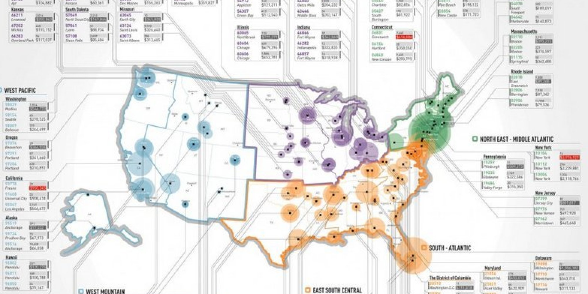 The Wealthiest Zip Codes In America In One Simple Map HuffPost - Us zip codes list excel