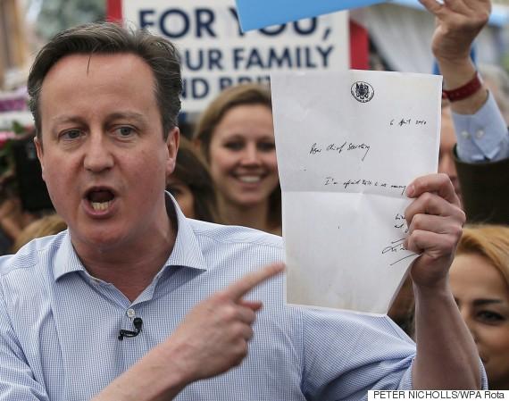 david cameron letter no money