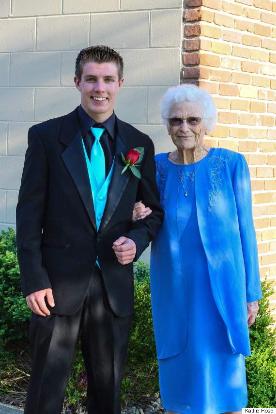 Teen takes great grandma to prom because she 39 s 39 the for Grandmother dresses for grandson s wedding