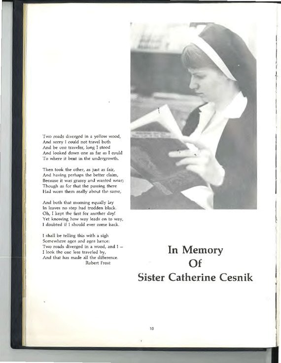 A Memorial Page For Cesnik In The 1970 Keough Yearbook. (Photo: Laura  Bassett/The Huffington Post)
