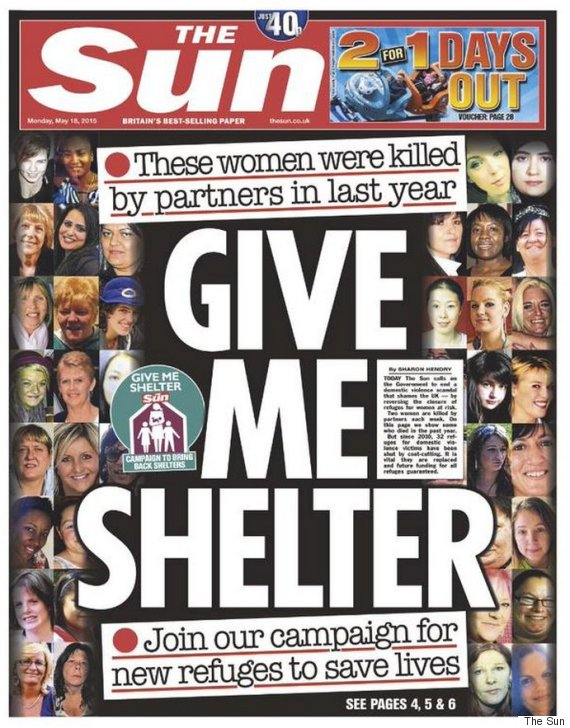 the sun front page give me shelter