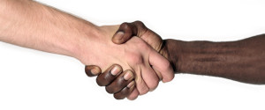 Shaking Hands Black White