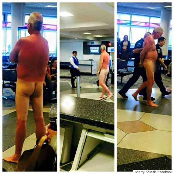 man strips naked in airport