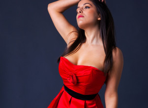 WOMAN RED DRESS RED