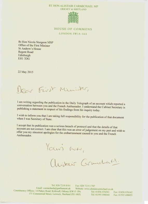 sturgeon letter carmichael apology
