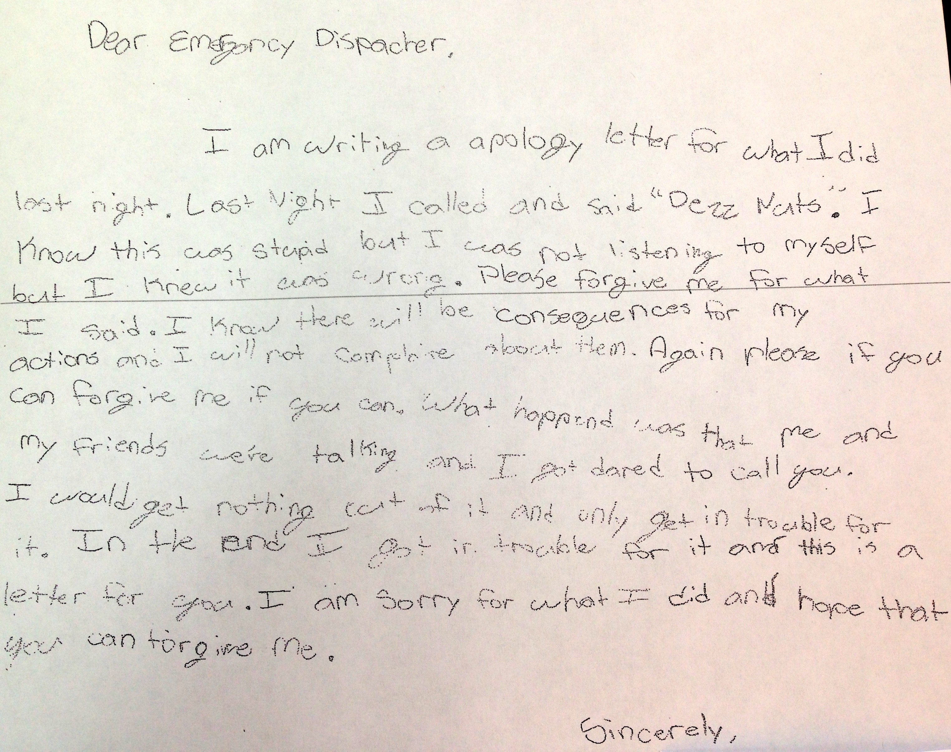 SixthGrader Pens Adorable Apology After Deez Nuts 911 Prank Call