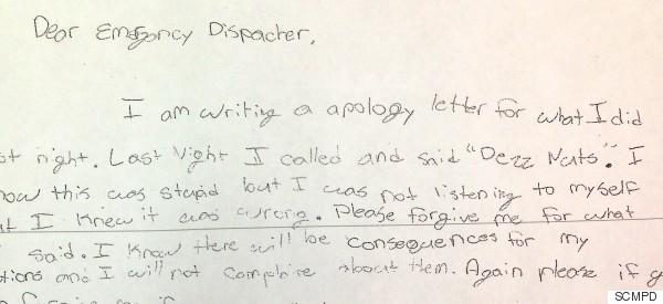 Sixth-Grader Pens Adorable Apology After Prank Calling 911