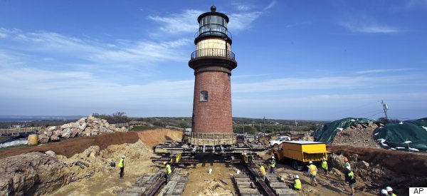 Remarkable Pictures Show Historic Lighthouse Being Moved From Eroding Cliffside