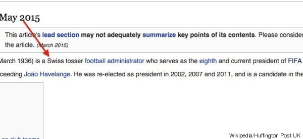 Someone Gave Sepp Blatter A New Job Title On Wikipedia