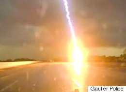 This Driver Who Narrowly Dodged A Lightning Strike Is The Luckiest Person Alive
