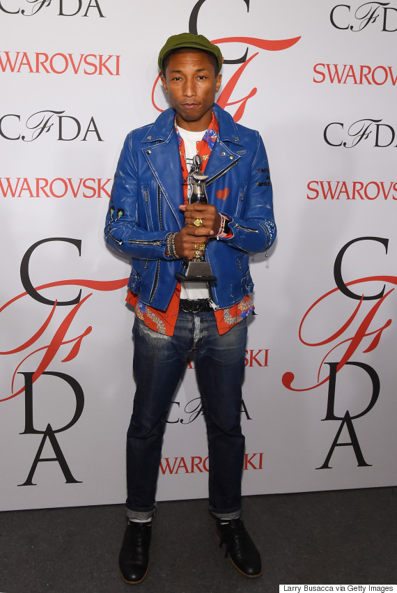 pharrell williams shows up in jeans to be honored as a