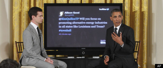 President Barack Obama and Twitter co-founder Jack Dorsey at the Twitter Town Hall