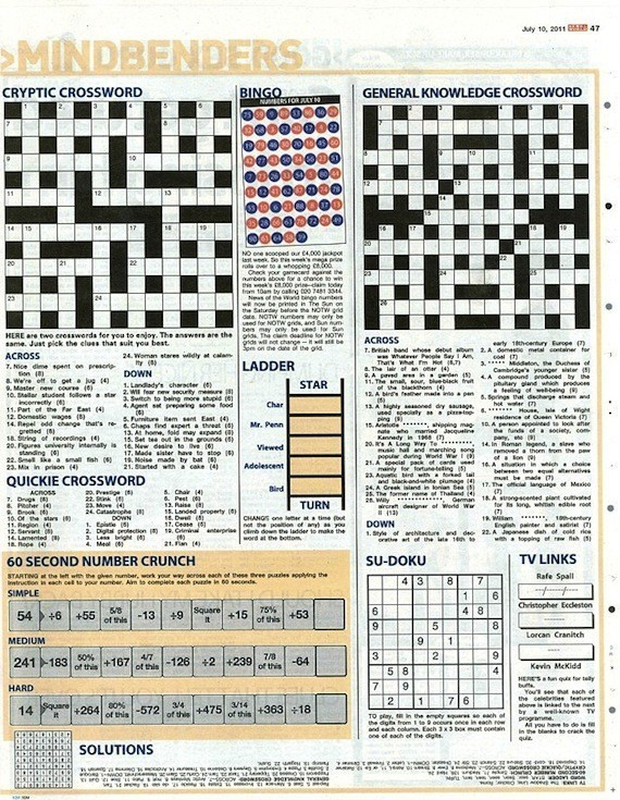 MORE Rebekah Brooks News Of The World Crossword Puzzle