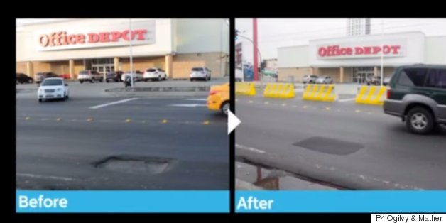 tweeting pothole before and after