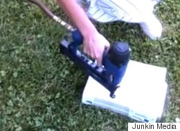 Watch This Wife Calmly Nailgun Her Husband's Xbox To 'Improve Airflow'