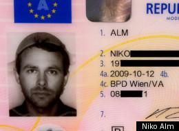 Atheist Niko Alm with spaghetti strainer headgear
