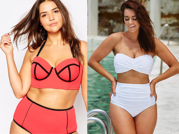 000e8efdf70 ASOS CURVE Mix & Match Bandeau Bikini Top with Contrast & Support, $14; Swim  Sexy White Sand Shirred High Waist Twist Bikini, $57