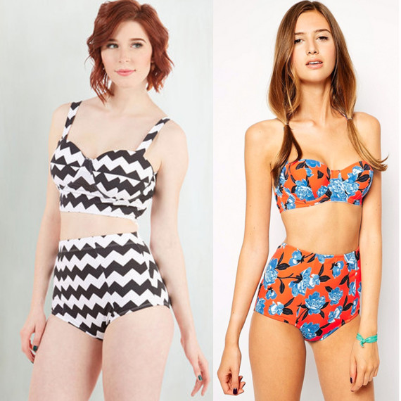 6dbd006d38b Poolside Pretty Swimsuit Top in Chevro, $16; ASOS FULLER BUST Exclusive  Orange Lotus Floral High Waist Bikini Bottom, $16.50