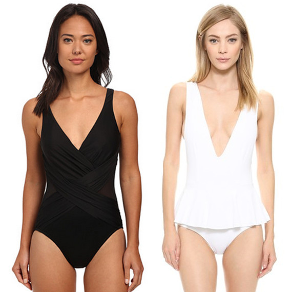 c3521c57579 tummy Miraclesuit New Sensations Crossover One-Piece, $150; Marysia Swim  Gramercy Skirted Maillot, $169