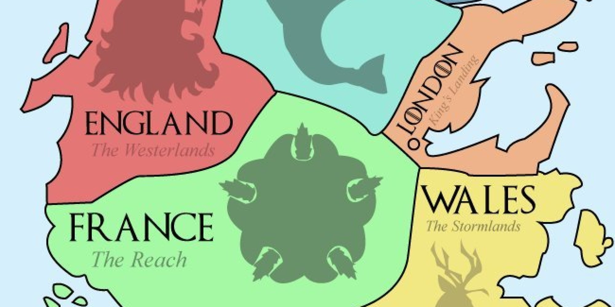 This Map Of Westeros Shows The European Equivalents Of The Seven - North american countries map game