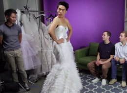 This Is What Happens When Dudes Try On Wedding Dresses