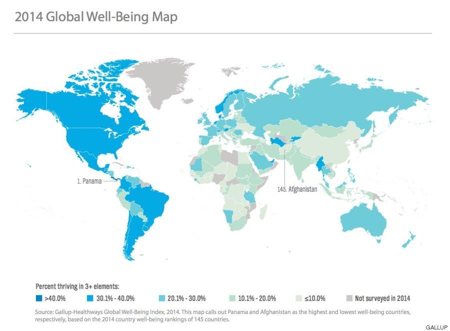 mapa paises felices