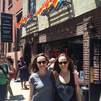 ally and lauren outside stonewall