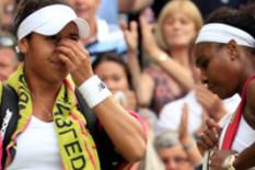 Heather Watson and Serena Williams | Pic: PA