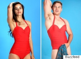 Men Trying On Women's Swimwear Looks Exactly Like You'd Imagine