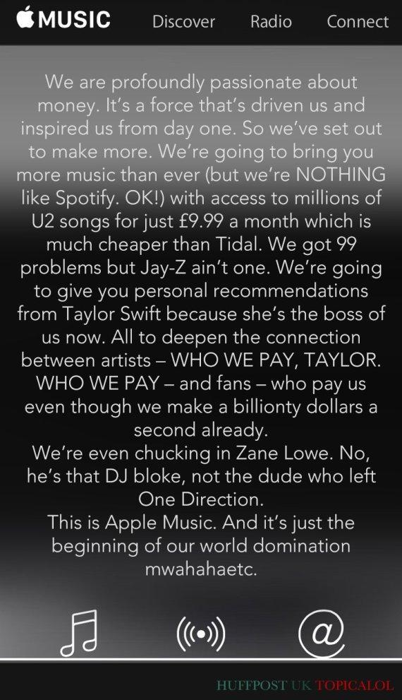honest apple music blurb