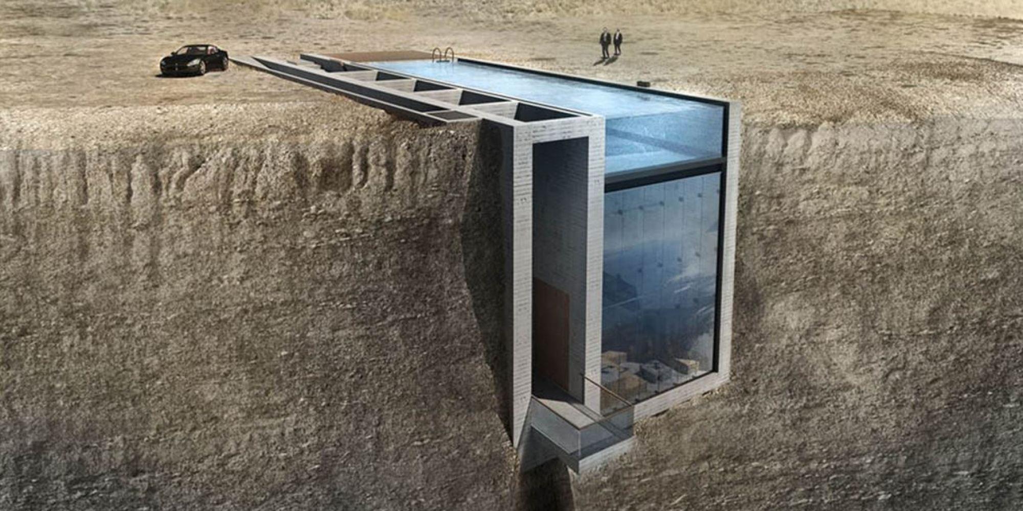 Cette maison incrust e flanc de falaise est presque for Piscine falaise