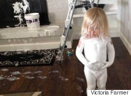 Toddler Finds White Paint, Decides To Bathe In It