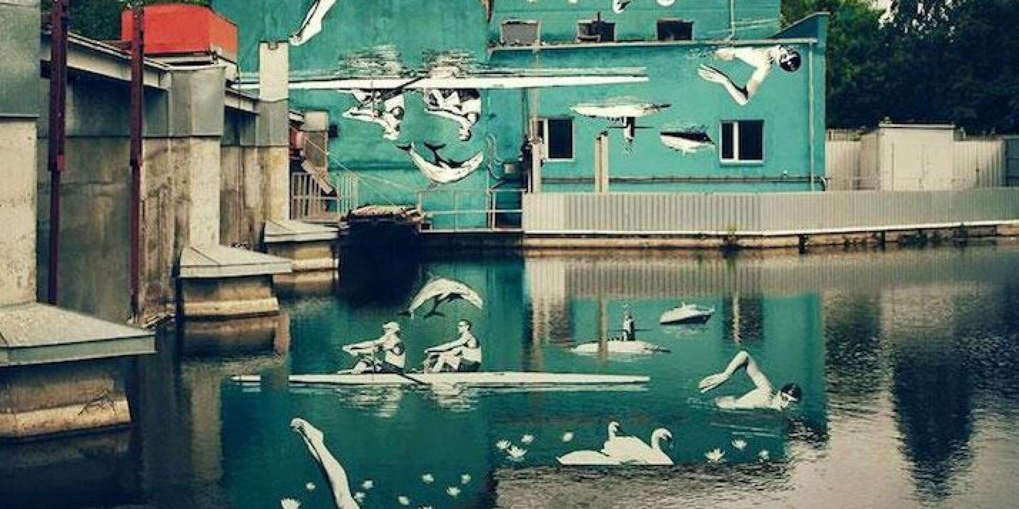 une fresque murale peinte l 39 envers pour cr er un trompe l 39 oeil avec son reflet dans l 39 eau. Black Bedroom Furniture Sets. Home Design Ideas