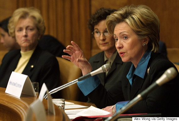 Sen. Jean Carnahan (D-Mo.), left, at a policy forum with Sen. Hillary Clinton (D-N.Y.), hosted by the National Center for Policy Research March 15, 2001 in Washington, D.C.