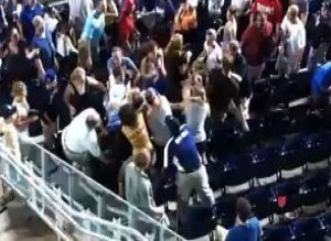 Fans Fighting At Mets National Game